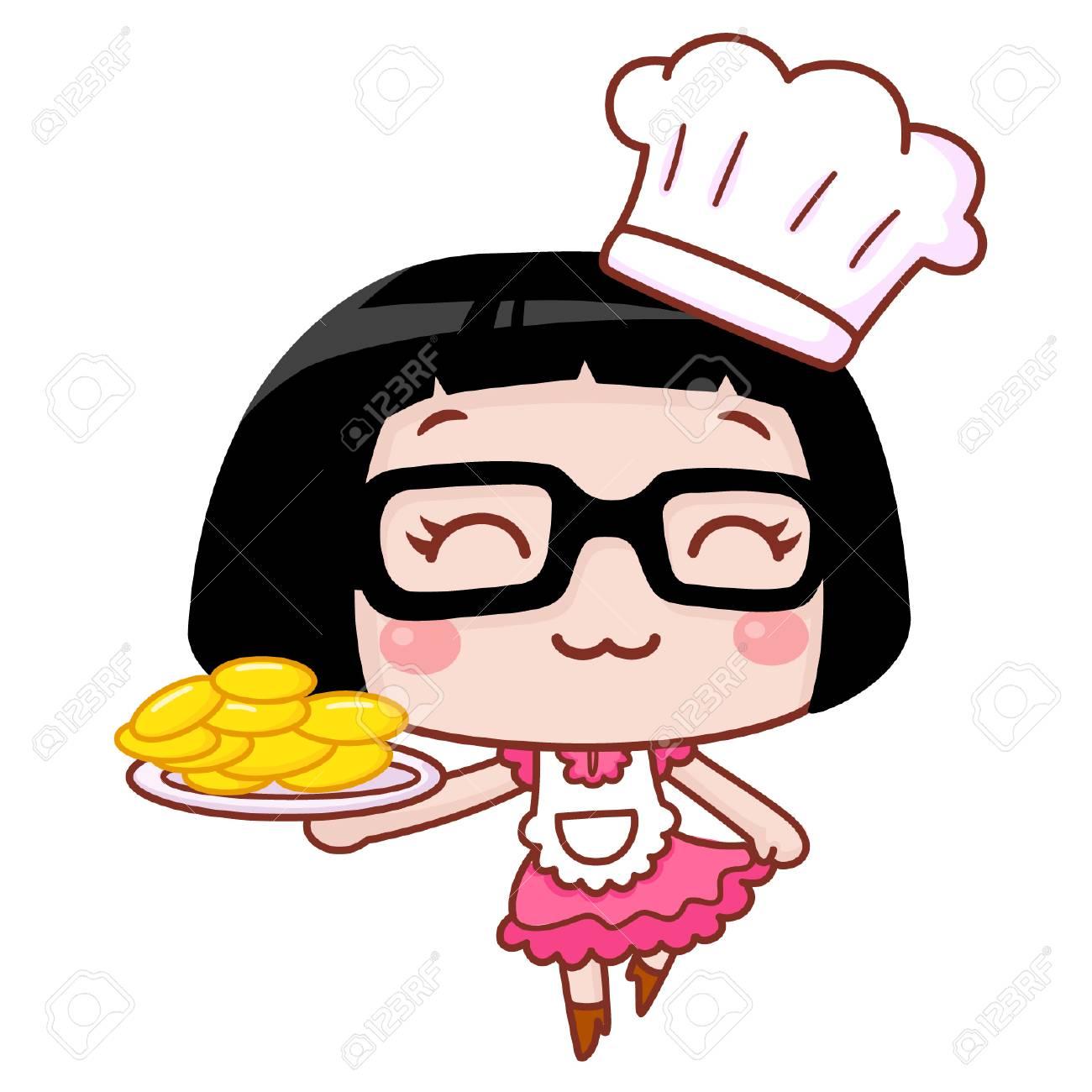 Cute cartoon chef girl holding a dish.