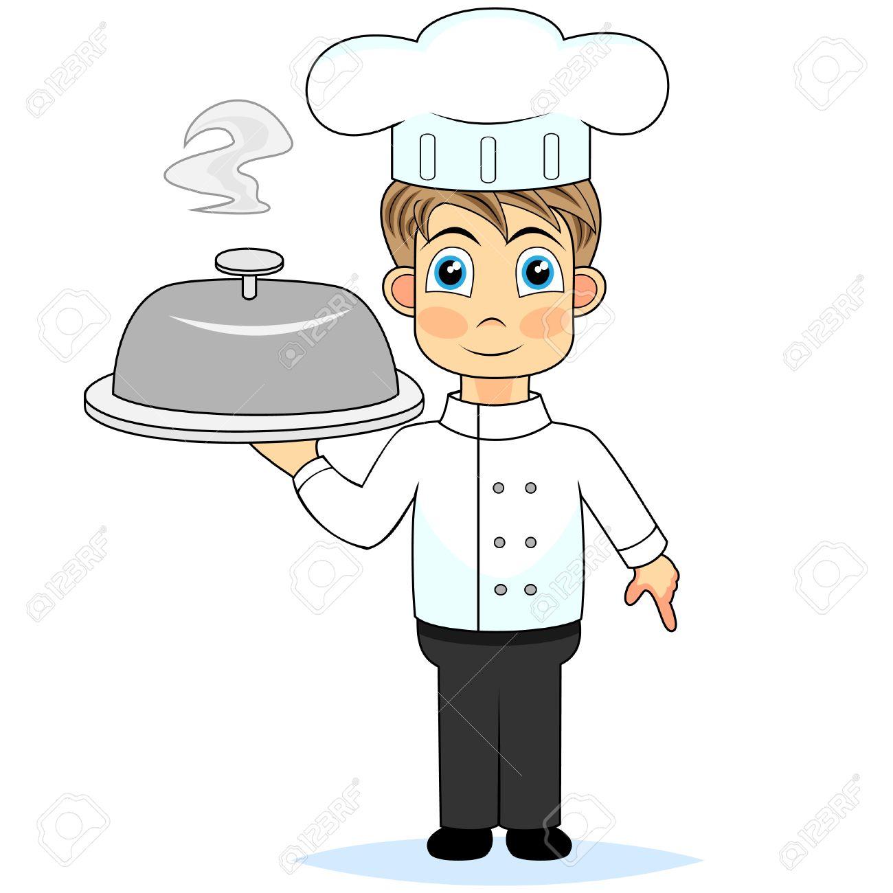 cute boy chef presenting a meal.