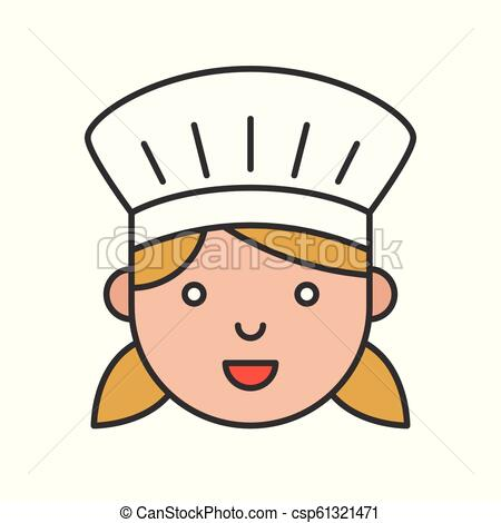 Cute chef head filled outline icon, editable stroke.