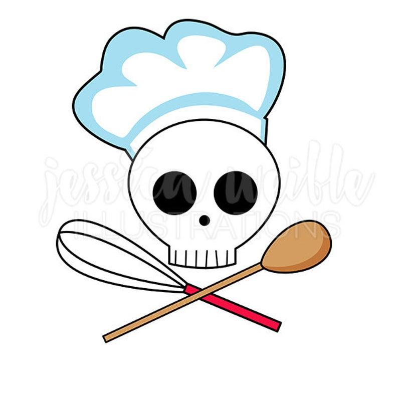 Skull Chef Clip Art, Cute Digital Clipart, Chef Clip art, Cooking Graphics,  Illustration, #1690.