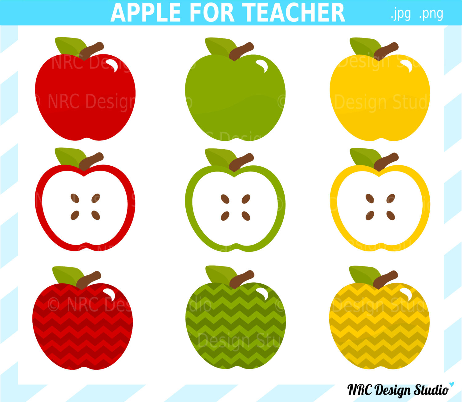 Chevron Teacher Apple Clipart.