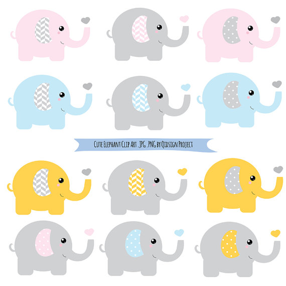 Cute Elephant Heart Clipart.