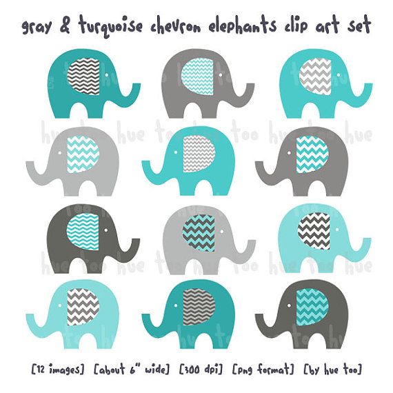 elephants clip art, boys chevron elephant clipart, gray blue aqua.