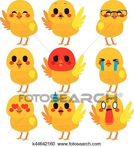 Cute Chick Emoji Expressions Clipart.