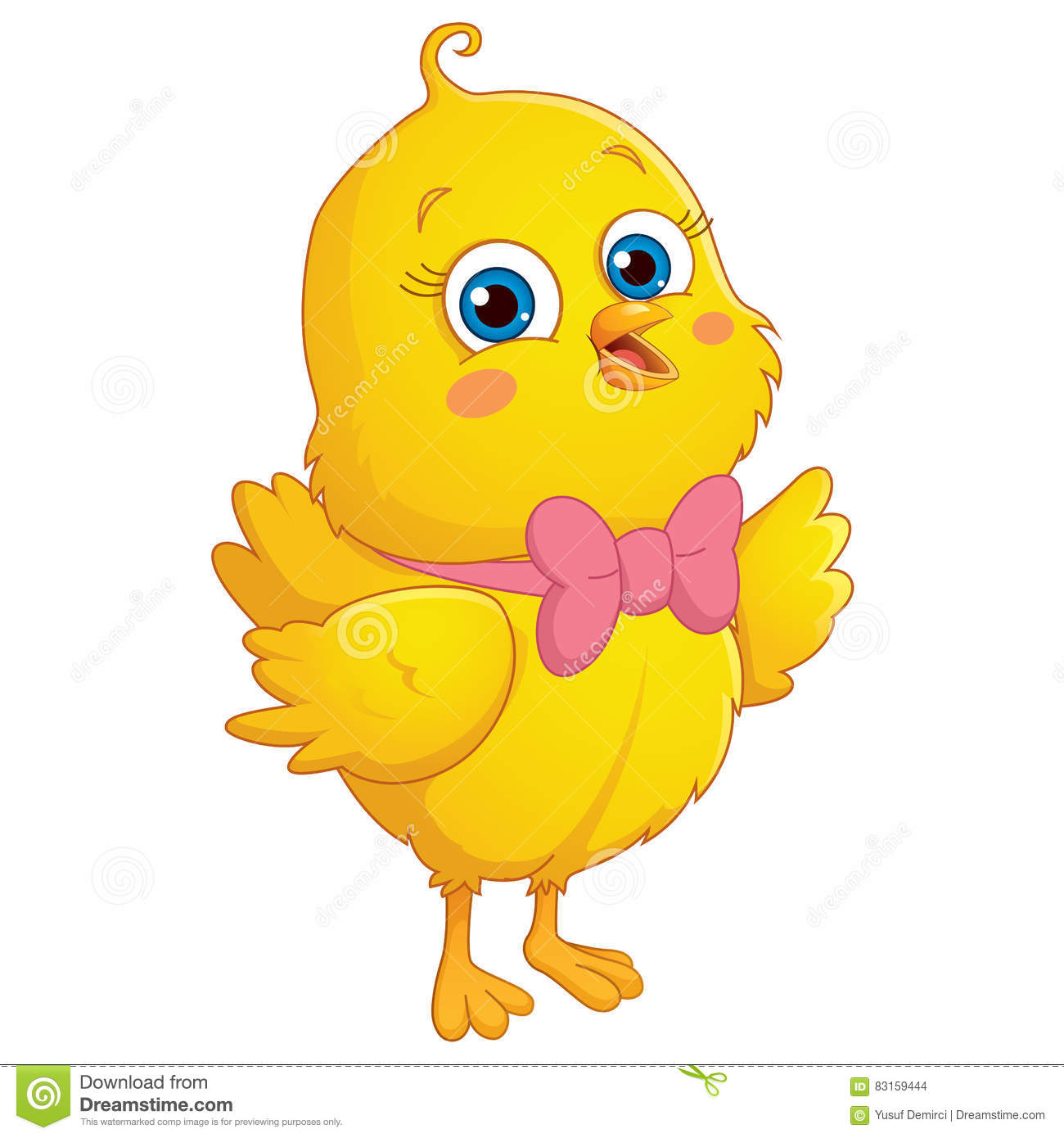 Happy Cute Chick Vector Illustration Stock Illustration.