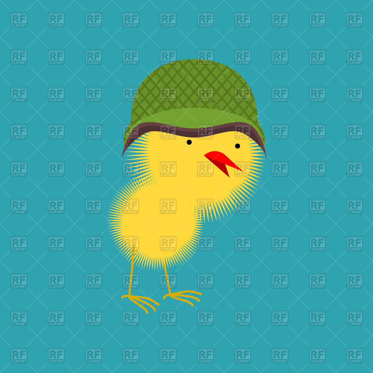 Cute chick in military helmet Stock Vector Image.