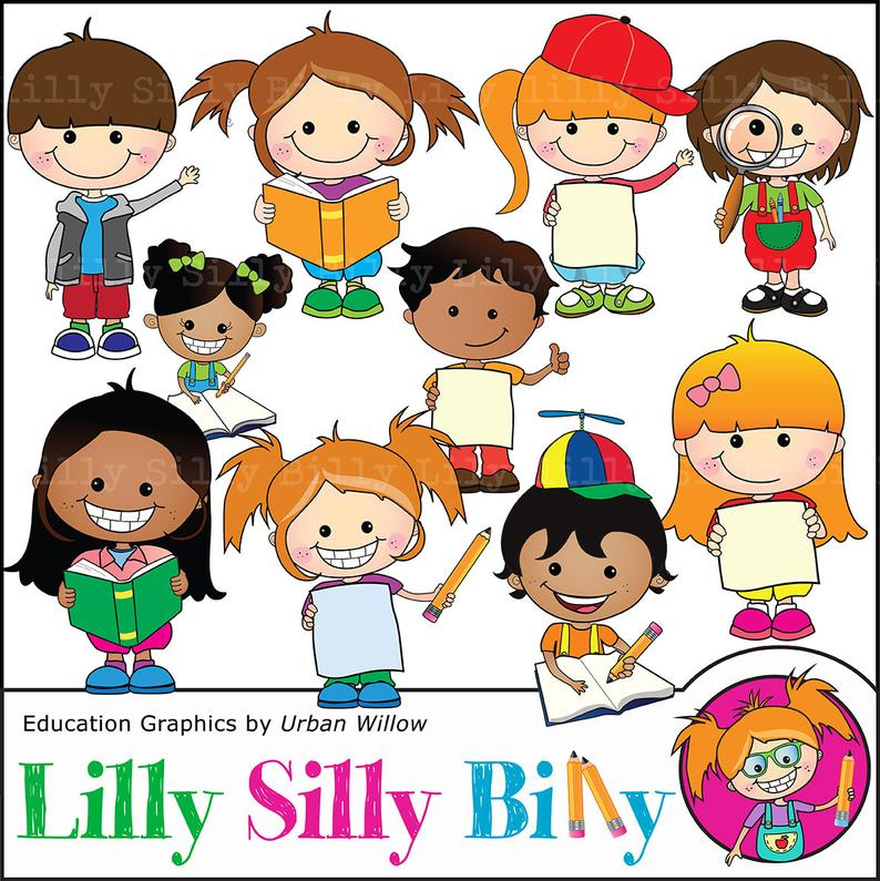 Cute children clipart, Commercial use school graphics, Education and  learning clipart, funny kids with books, Teachers aid graphics..