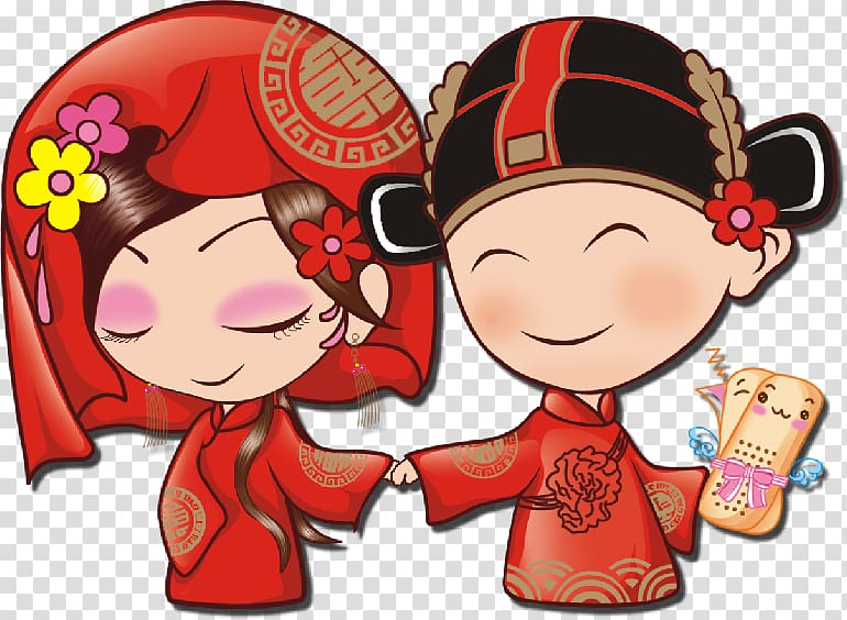 Boy and girl wearing red top illustration, China Wedding.