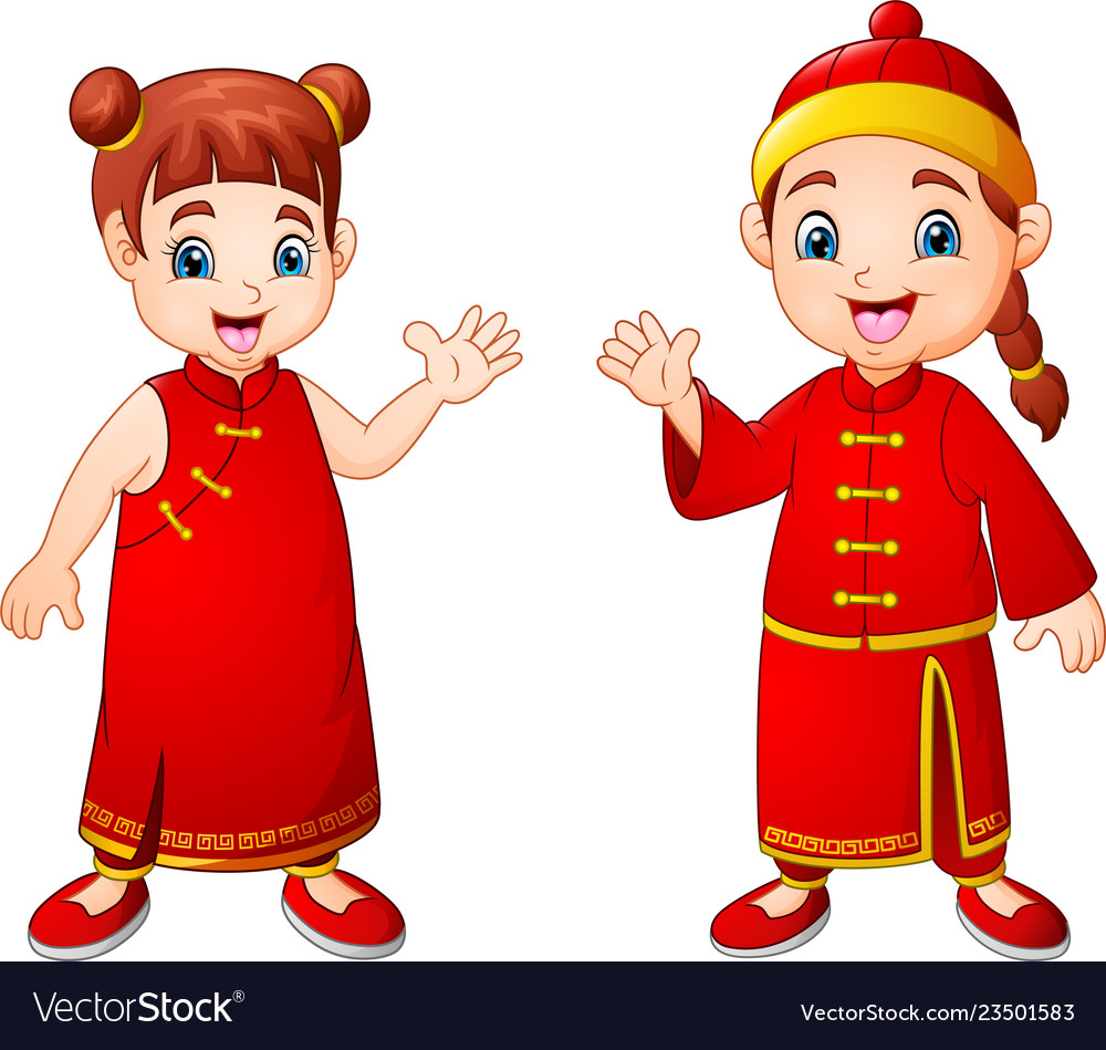 Cartoon cute boy and girl in chinese costume.