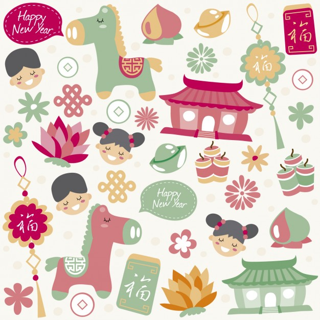 Cute chinese new year elements Vector.