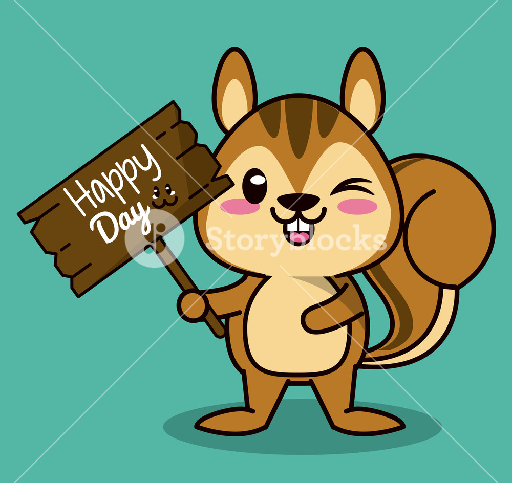 color background with cute kawaii animal chipmunk standing with.