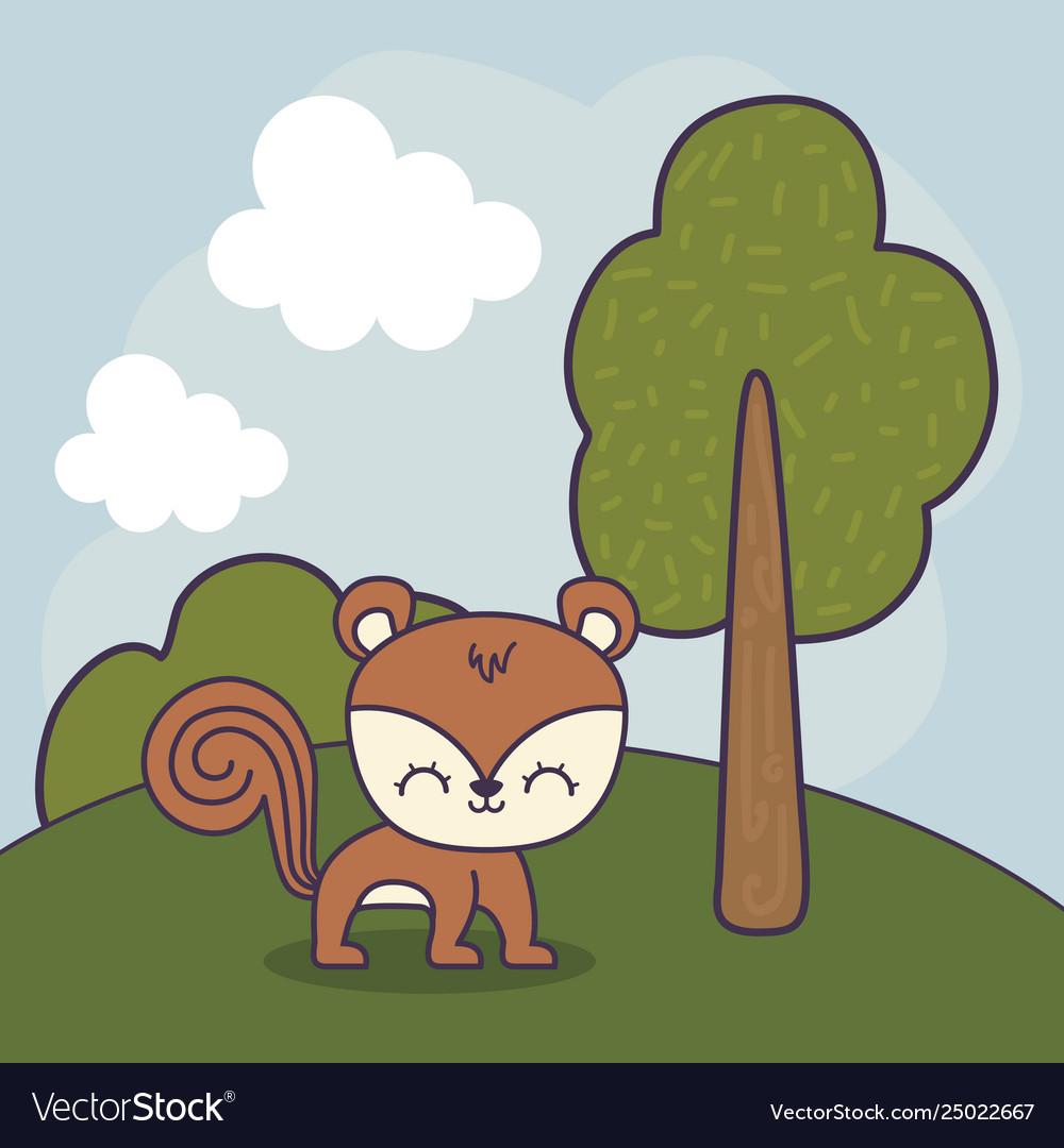 Cute chipmunk in landscape scene.