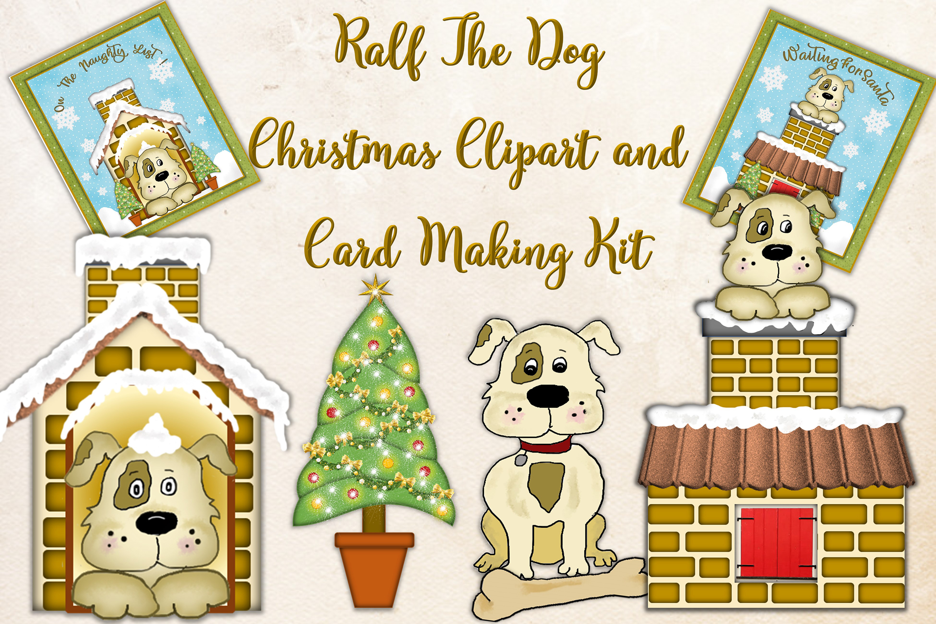 Cute Dog clipart and Christmas Card making Kit.