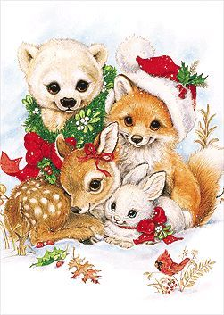 images of cute christmas animals clipart.