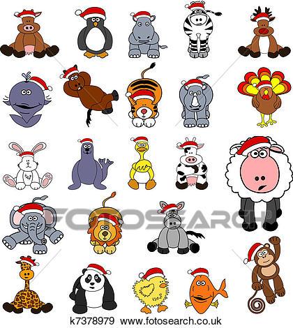 Cute Christmas Animal Set Clip Art.