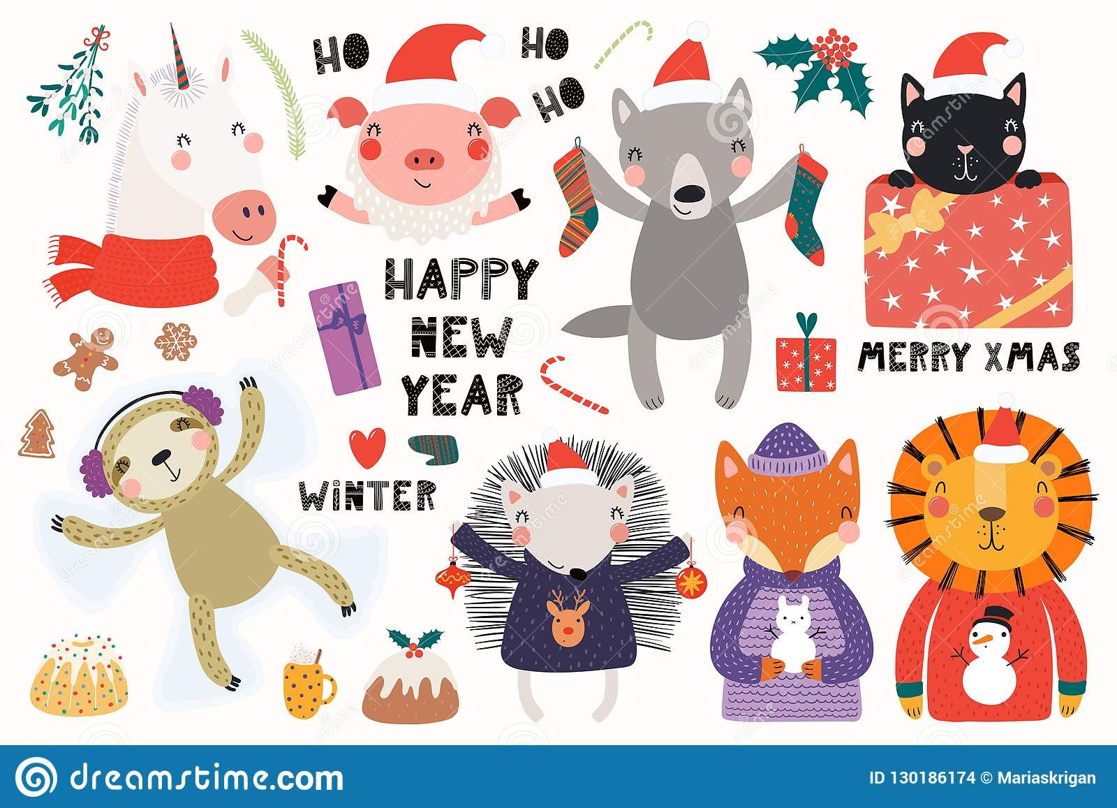 Cute Animals Christmas Card Stock Vector.