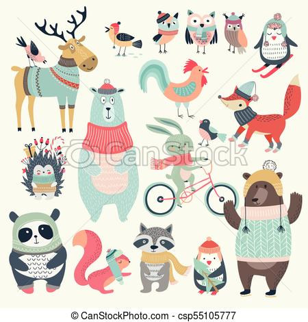 Christmas set with cute animals, hand drawn style..