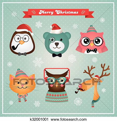 Cute Christmas Fashion Hipster Animals and Pets Clipart.