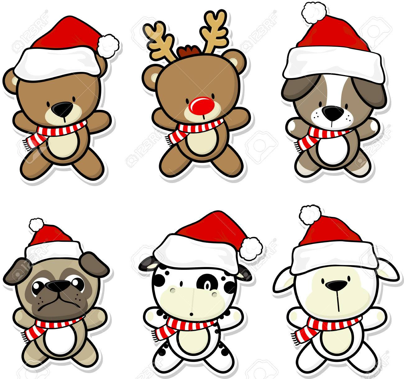cute baby animals with christmas hat and scarf.