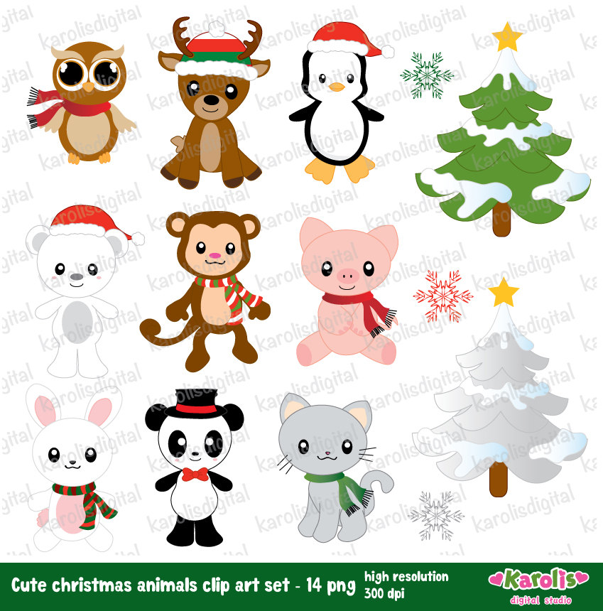 Cute christmas animals.