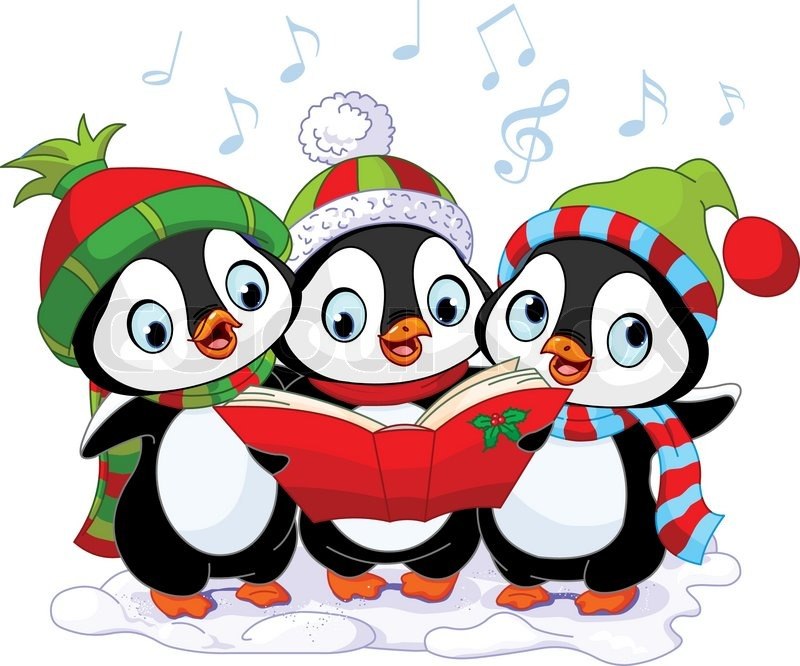 Three cute Christmas carolers.