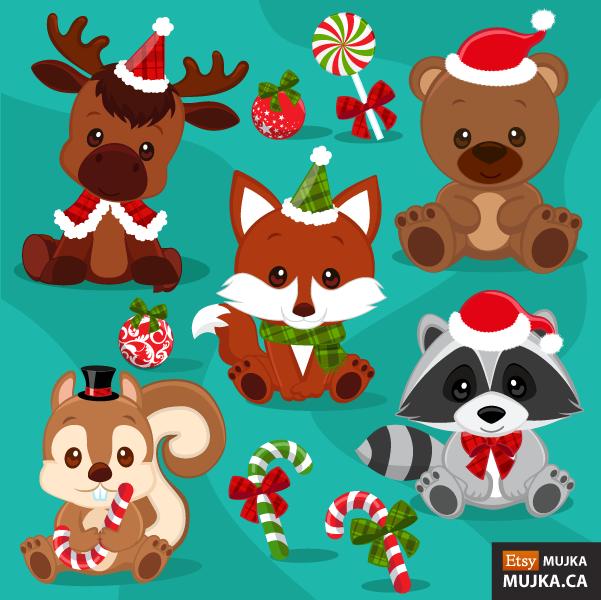 Cute Christmas Animals Clip Art.