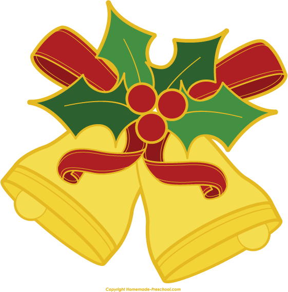 Cute Christmas Bells Clipart Free.