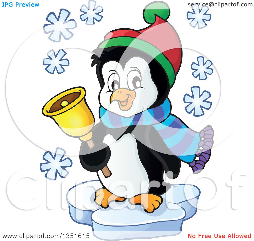 Clipart of a Cute Christmas Penguin Ringing a Bell and Floating on.