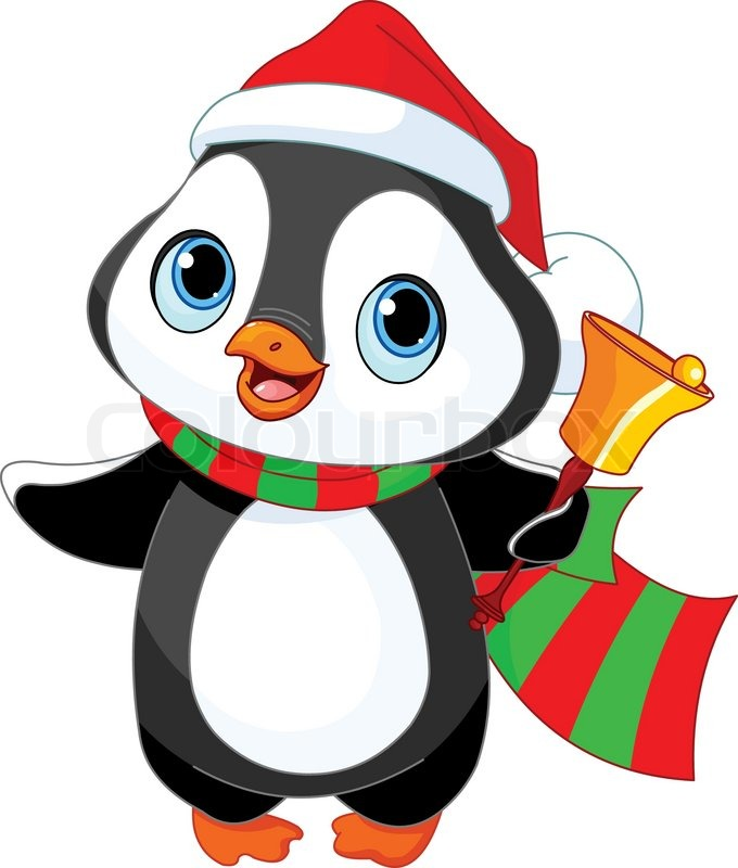 Christmas Bell Clipart Shiny Golden Bells Ribbon Just Free Image. Cute  Christmas Penguin With Jingle Bell.