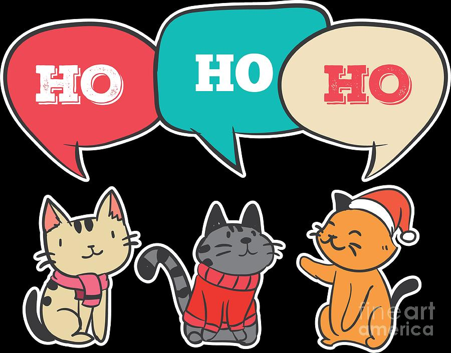 Funny Cute Christmas Cat Ho Ho Ho Xmas Holiday Kitty Meow Gift.