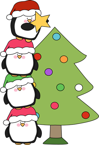 Cute little penguins trying to put a star on a tree. Of all the.