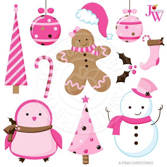 A Pink Christmas Cute Christmas Digital Clipart, Pink Christmas Clip Art,  Pink Holiday Graphics, Instant Download, Scrapbooking, Gingerbread.