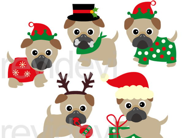 Cute Christmas Pugs Clip Art Graphics.