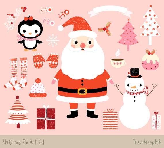 Kawaii Christmas clipart images, Cute Christmas clip art set, Santa clipart  Christmas graphic, Winter clipart, Snowman and penguin clipart.