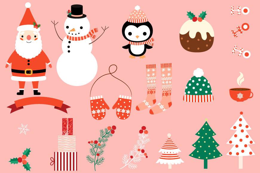 Cute Christmas clipart set, Santa clipart, Snowman, Christmas trees.