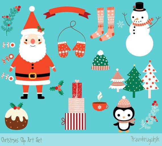 Cute Christmas clipart set, Kawaii Christmas clip art, Digital Christmas  graphics, Santa clipart, Christmas penguin clipart, Snowman clipart.
