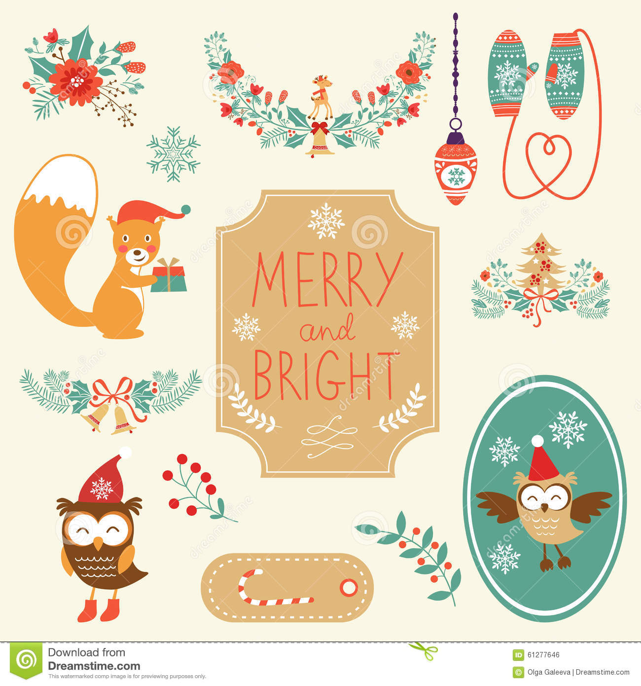 Cute Christmas Clipart Collection Stock Vector.
