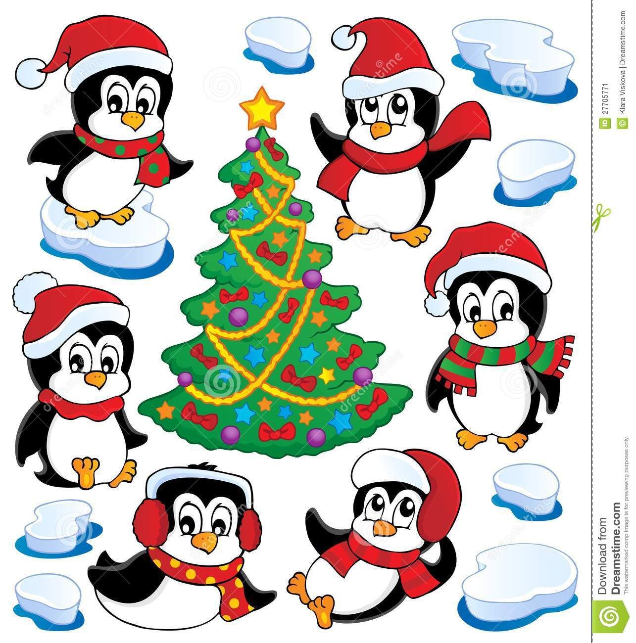 Cute Penguins Collection Stock Image.