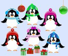 christmas penguins clipart.