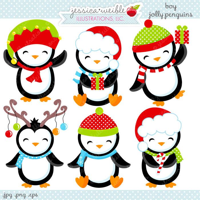 Boy Jolly Penguins Cute Digital Clipart Commercial Use OK.