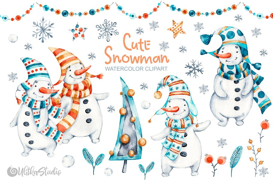 Cute Snowman. Christmas clipart.