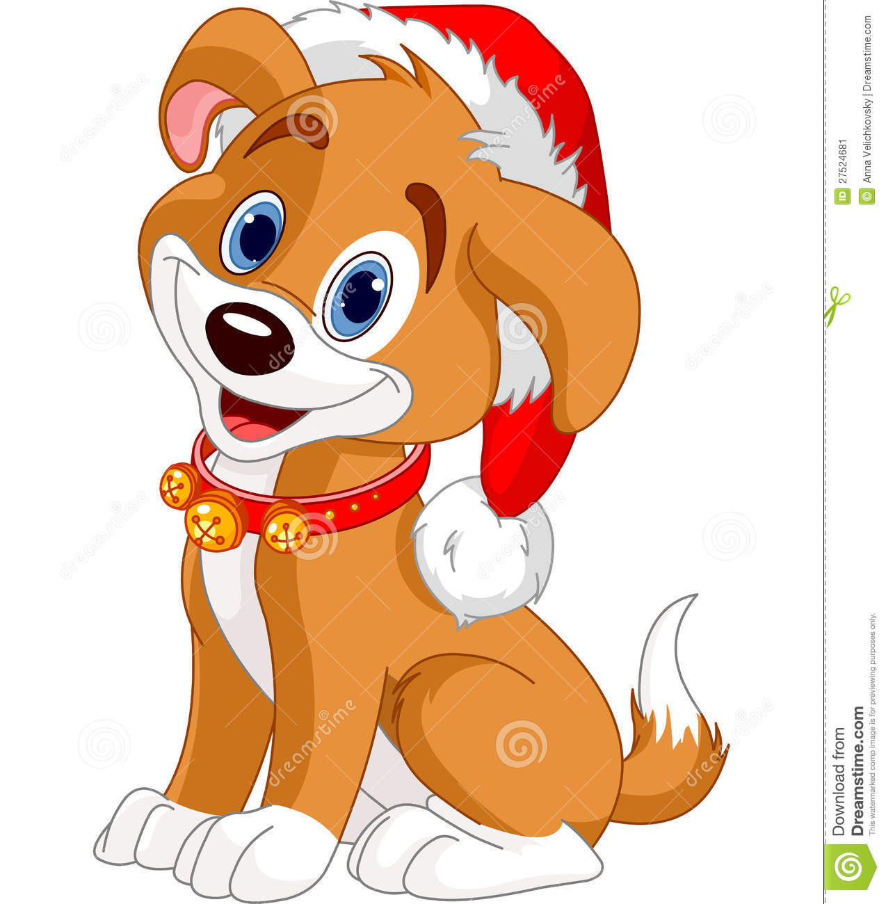 Christmas dog stock vector. Illustration of character.