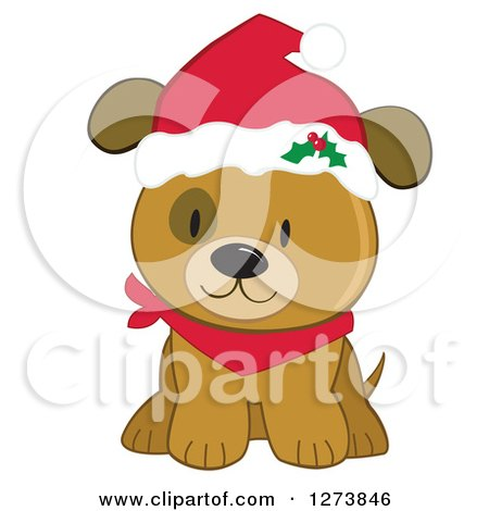 Clipart of a Cute Brown Christmas Dog Wearing a Santa Hat.