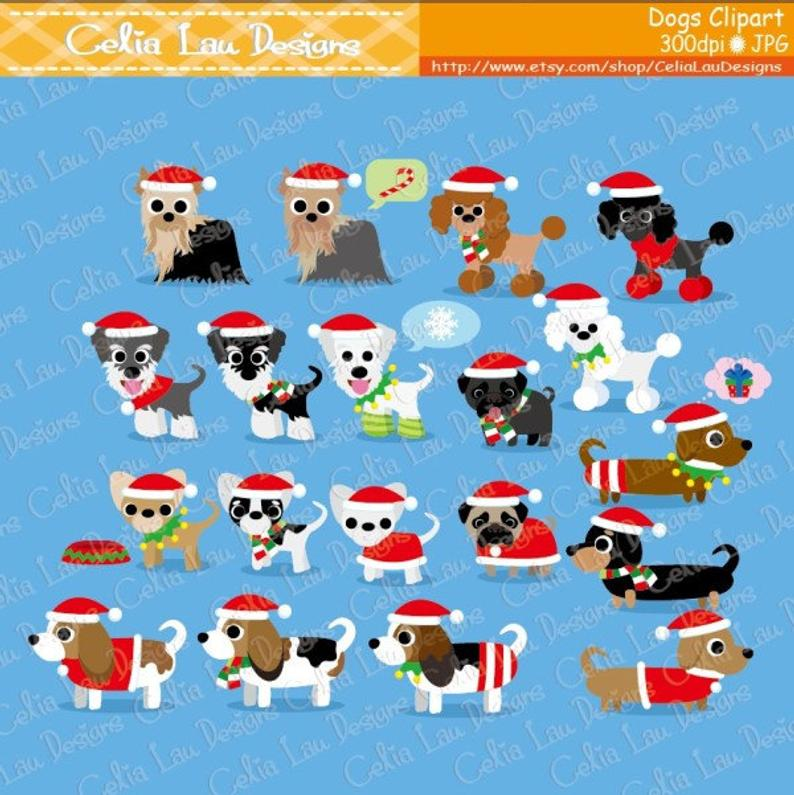 Christmas Dog Clipart, Puppy Clipart , cute dogs clip art, puppy clipart,  (cg098) / Christmas clipart / INSTANT DOWNLOAD.