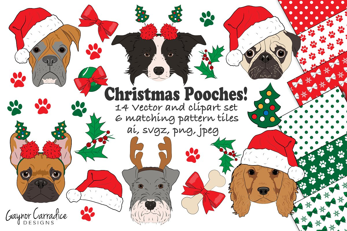 Christmas dogs vector & clipart set.