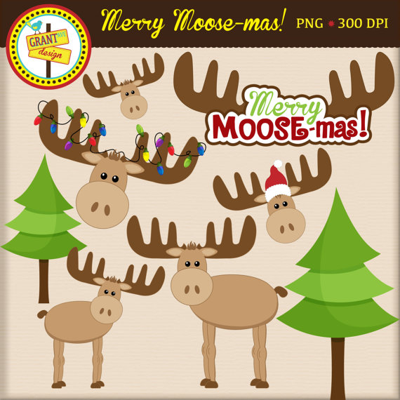 Moose Clipart Christmas Moose Clip Art Cute Digital.