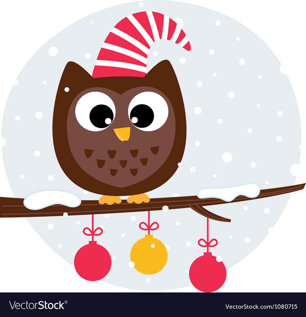 Cute christmas owl sitting on the branch.