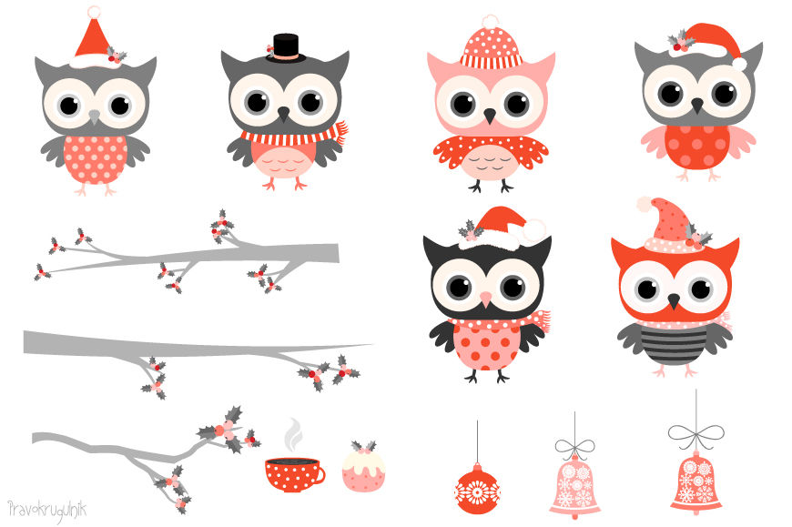 Red grey winter owls clipart, Cute Christmas owl characters clip art.