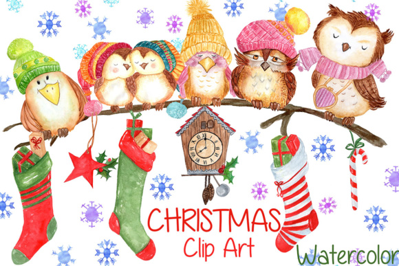 Watercolor Christmas, Cute Owls Clipart.