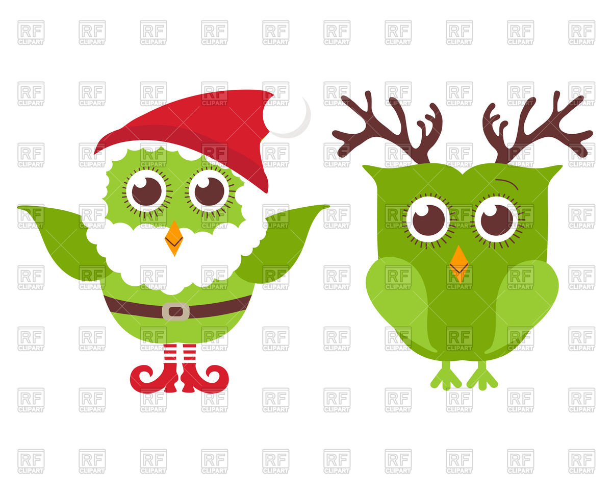 Two cute Christmas owls dressed as Santa and reindeer Stock Vector Image.